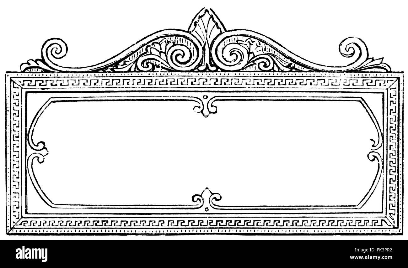 Victorian rectangular decorative frame (vintage engraving) - Stock Image