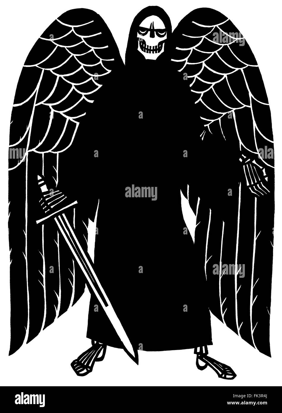 Woodcut, Black angel of death with sword - Stock Image