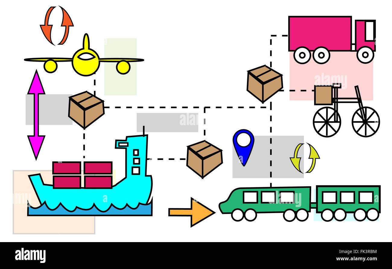 Illustration of logistics transport movements - Stock Image