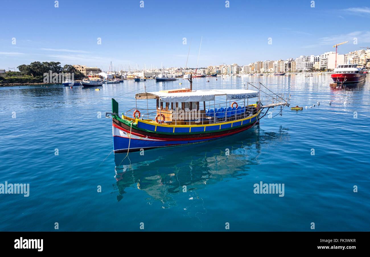 Marsamxett Harbour towards Sliema, Malta, from the Valletta ferry - Stock Image