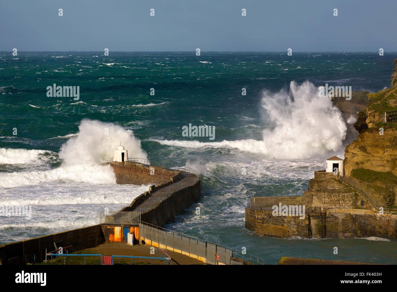 Portreath; Wave Breaking; Cornwall; UK - Stock Image