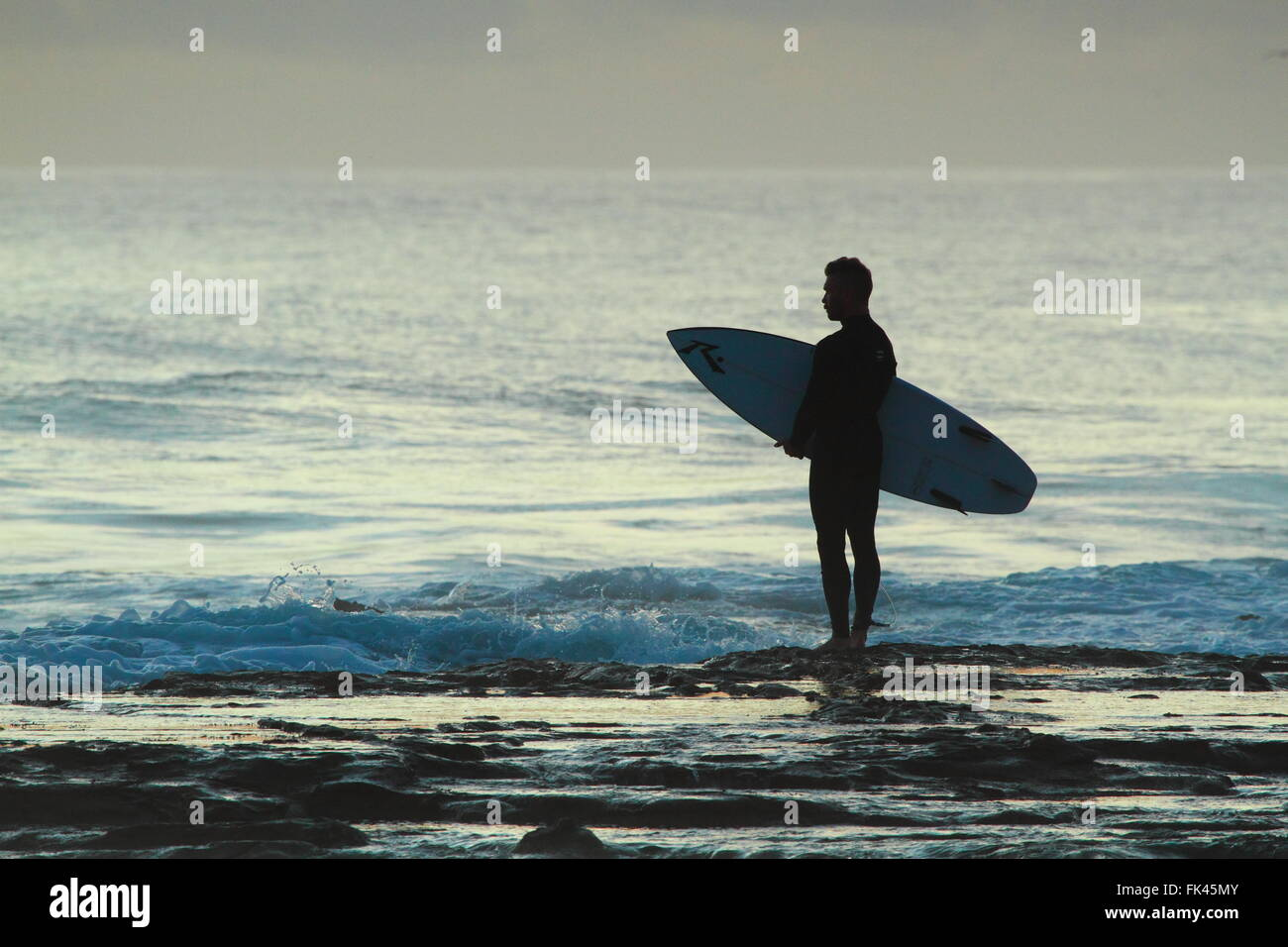 A man in his late twenties or early thirties holds his surfboard and inspects the surf at Sandon Point, Bulli, NSW, - Stock Image