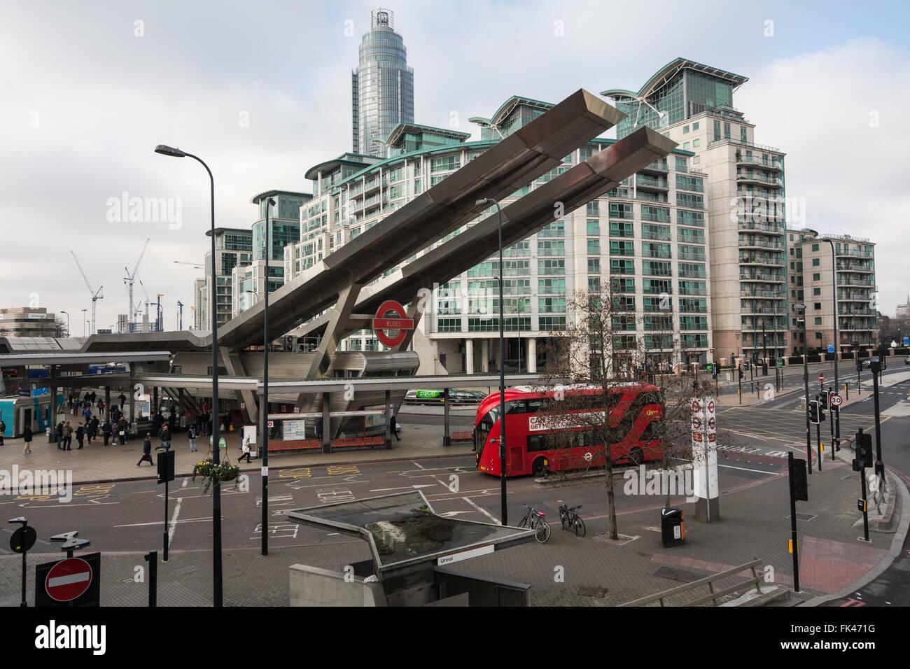 Vauxhall Cross transport interchange, in the London Borough of Lambeth, London,  United Kingdom - Stock Image