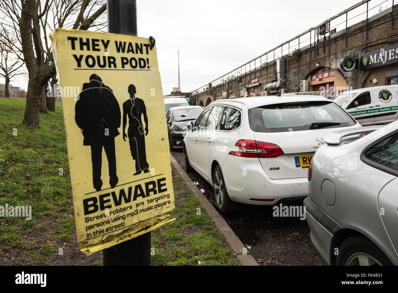 Beware - They Want Your Pod car theft warning sign on London street, UK. - Stock Image