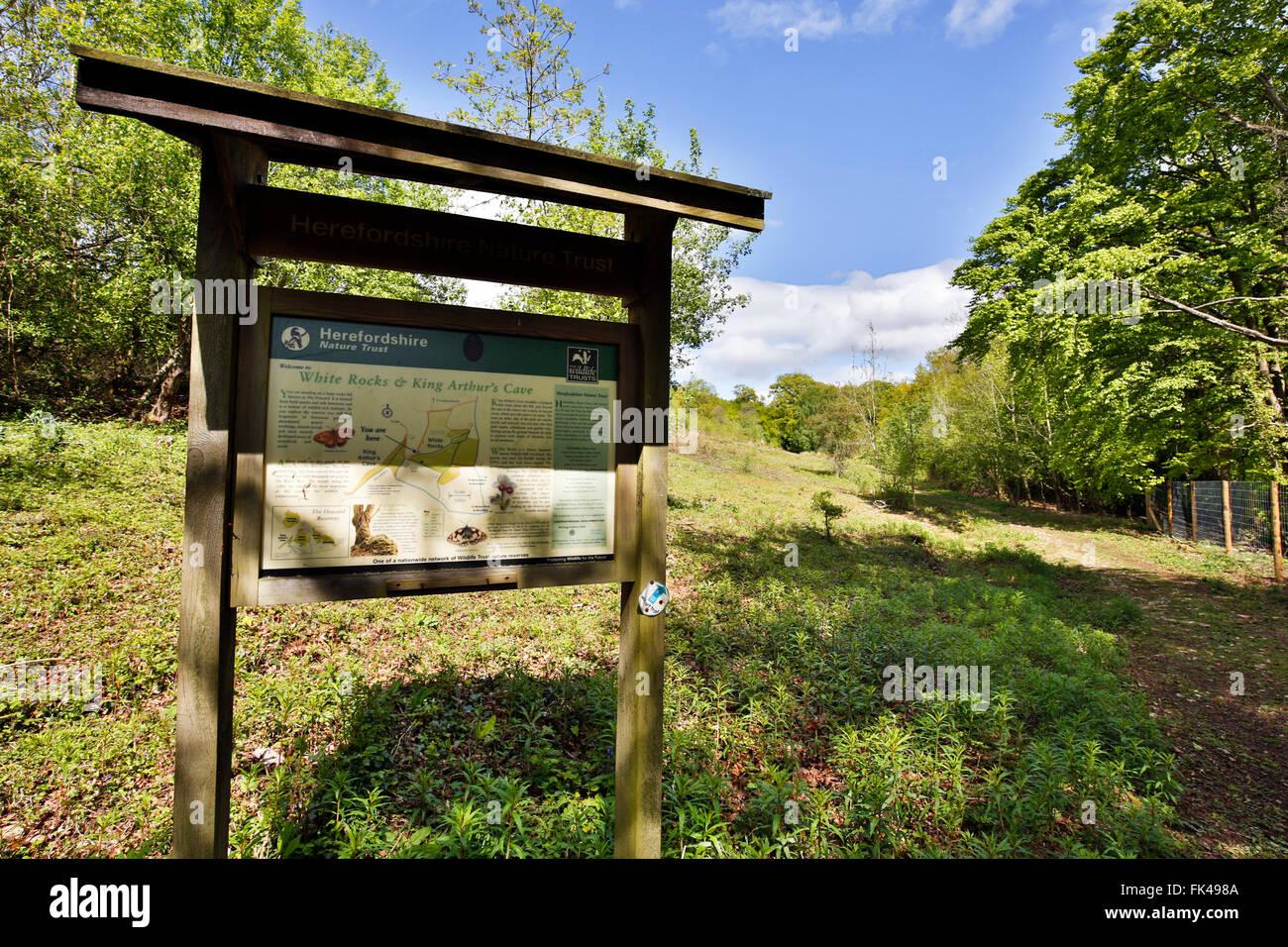 White Rocks; Herefordshire Wildlife Trust Reserve; Notice Board; UK - Stock Image