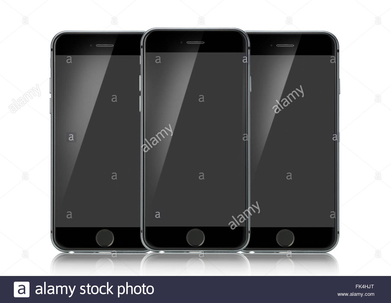 Three Apple IPhone 6s isolated on a white background forward facing with a blank screen - Stock Image