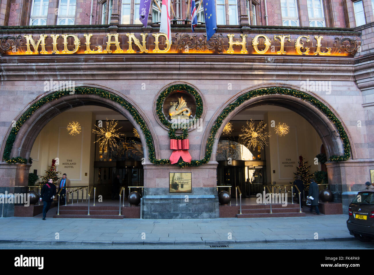 The Midland Hotel in central Manchester, an Edwardian Baroque style Grade 2 listed building. - Stock Image