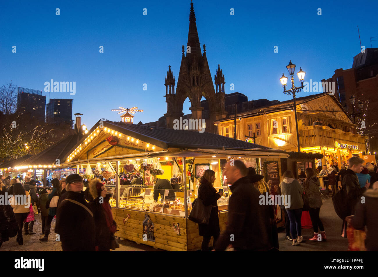 Manchester Christmas Market in front of the Town Hall in Albert Square. Stock Photo
