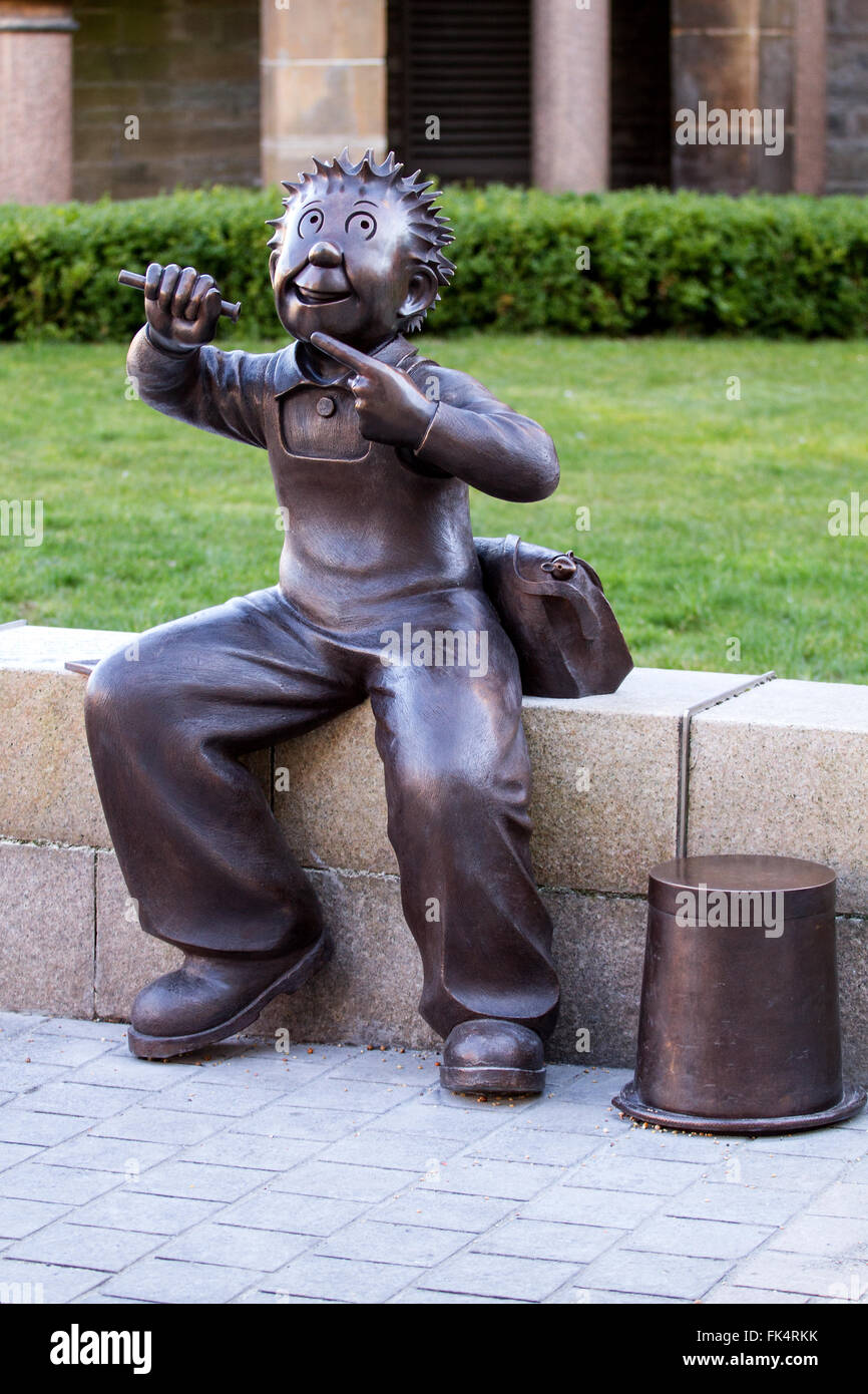 Dundee, Tayside, Scotland, UK, March 7th 2016: Dundee has a new statue of mischievous schoolboy Oor Wullie. The Stock Photo