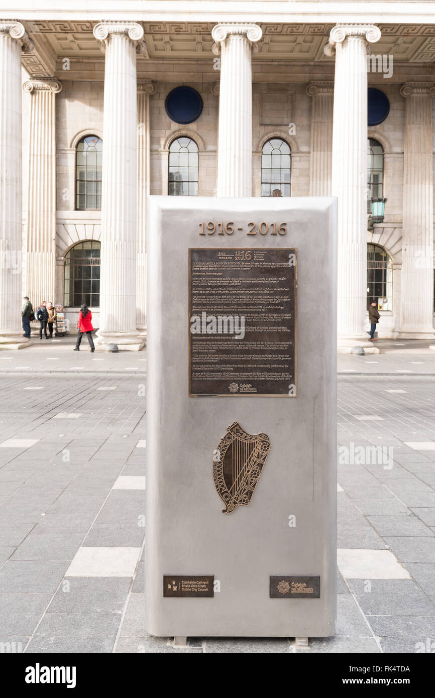 Easter Rising Centenary - monument outside Dublin GPO building to commemorate the centenary of the 1916 Irish rebellion Stock Photo