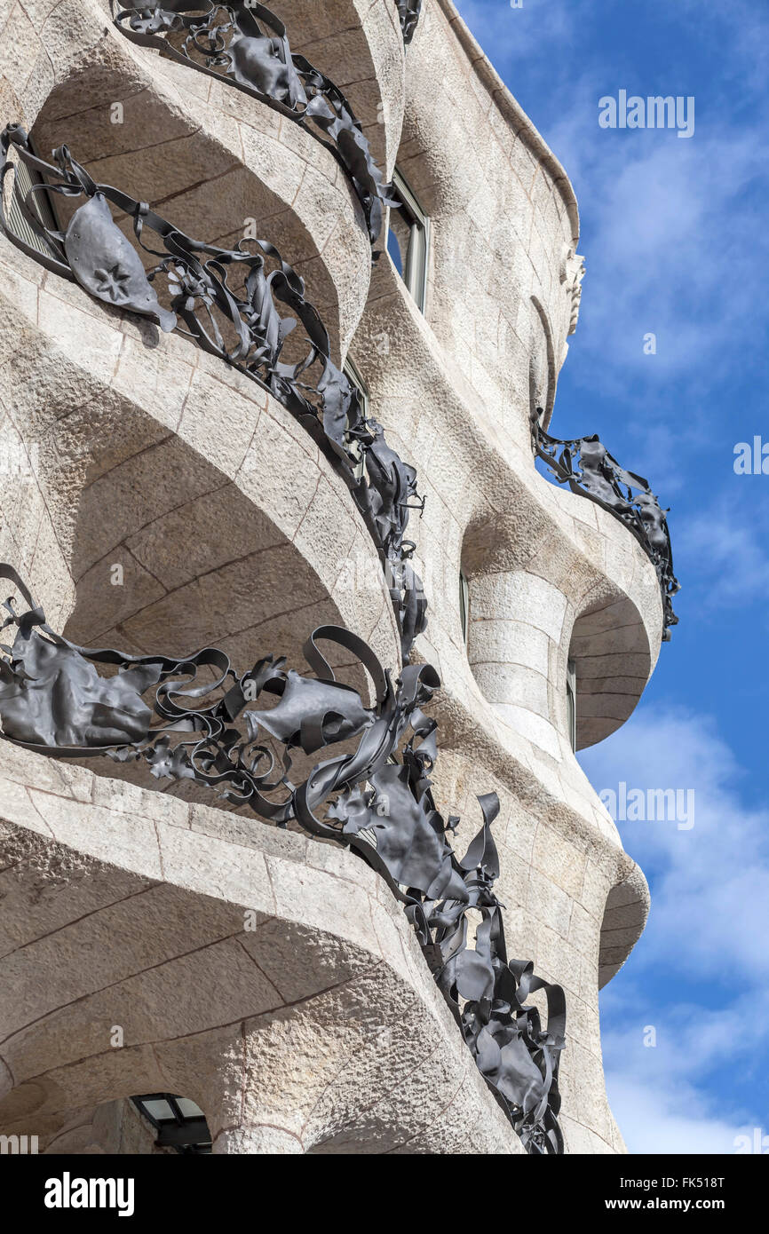 La Pedrera, by Antoni Gaudí. Barcelona. - Stock Image