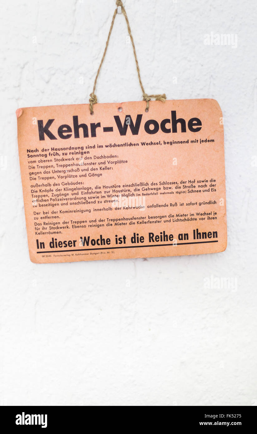 kehrwoche sign, imposed cleaning duties, still common in southern germany, especially in the state of baden-wuerttemberg - Stock Image