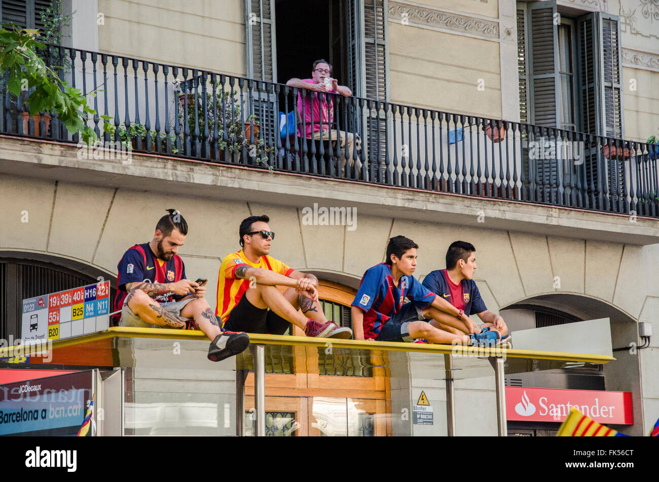 Fans of Futbol Club Barcelona waiting for the players  after winning the Cup. - Stock Image
