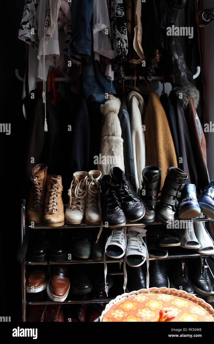 Closet vintage clothes - Stock Image
