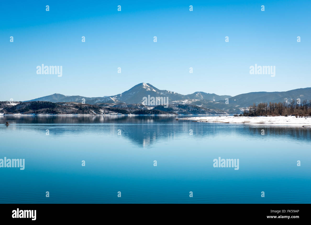 Lake Plastira on winter. Greece. Symmetric composition - Stock Image