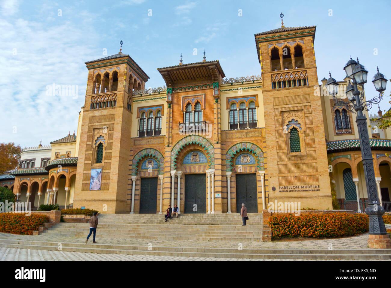 Museo de Artes y Costumbres Populares, Folk art museum, Plaza America, Parque de María Luisa, Sevilla, Andalucia, - Stock Image