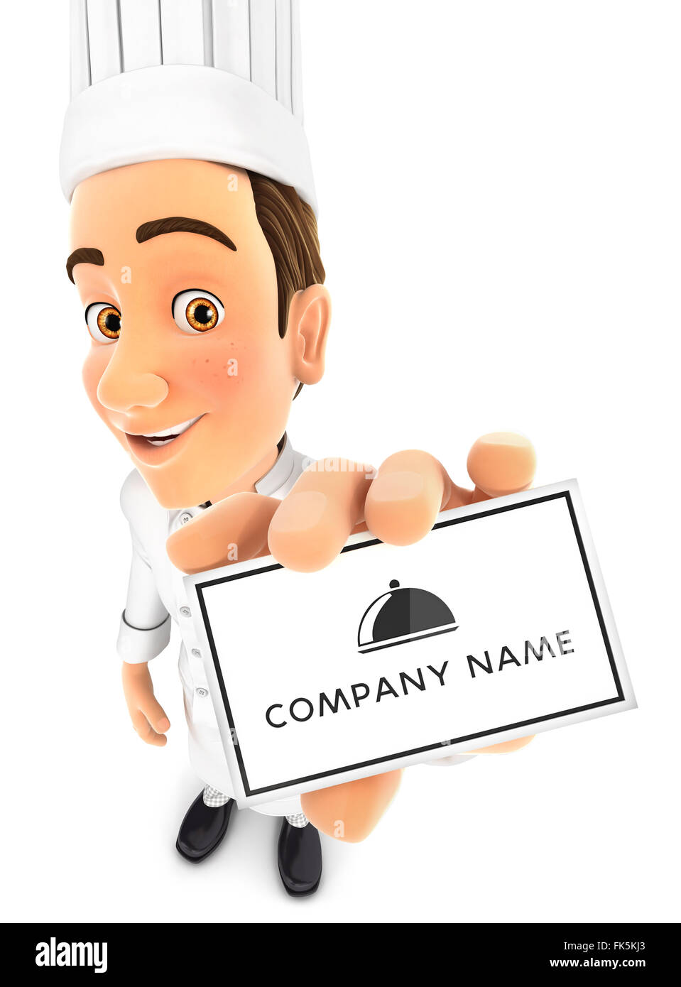 3d head chef holding company card, isolated white background Stock Photo