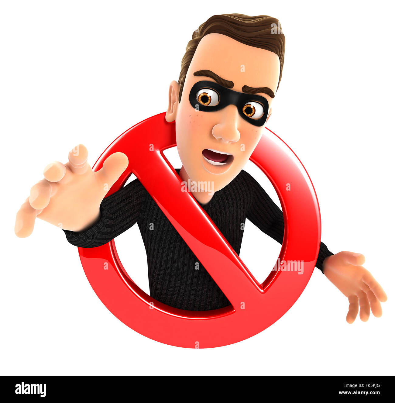 3d thief surrounded by a forbidden sign, isolated white background Stock Photo