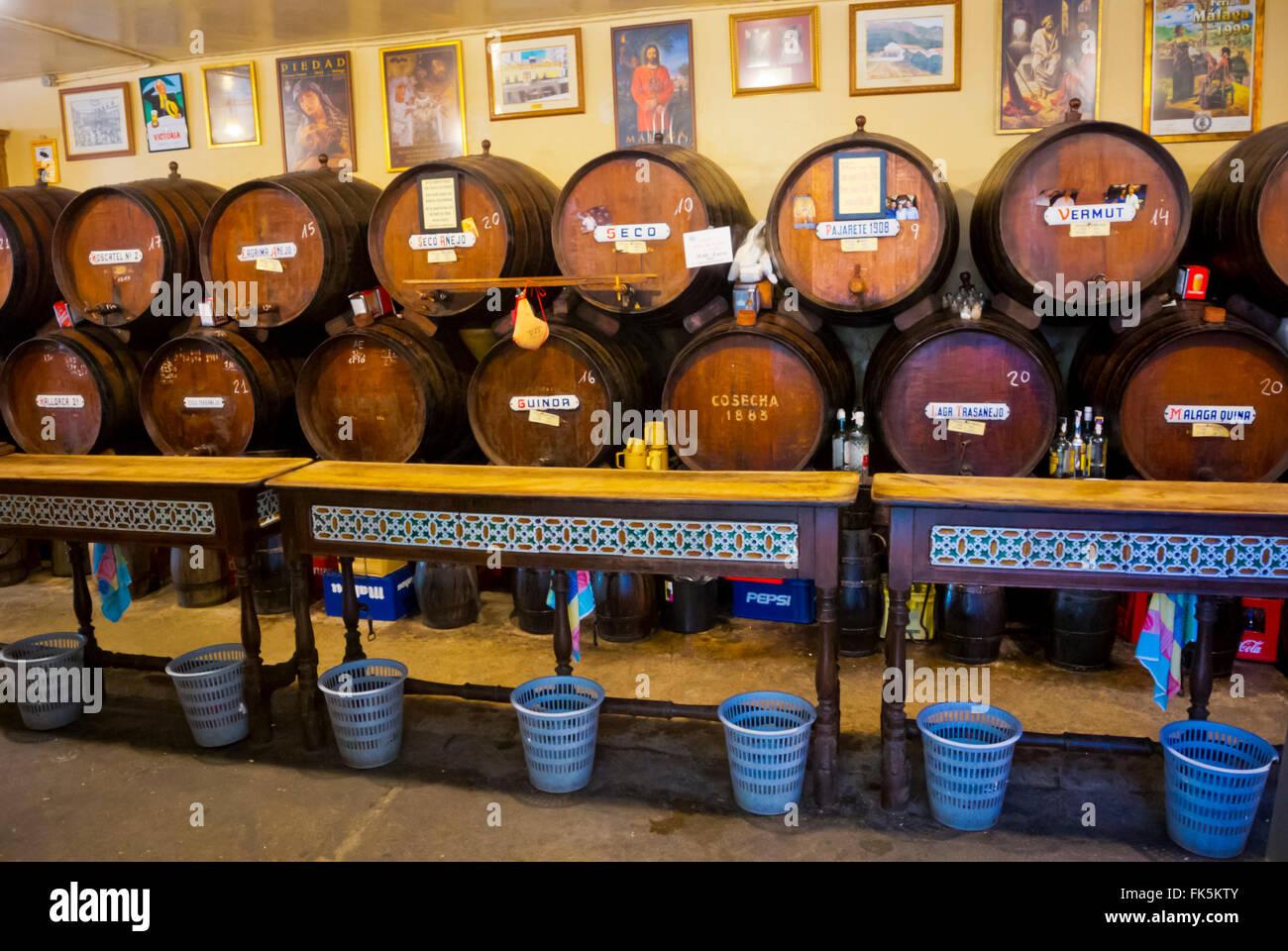Barrels of wine, Antigua Casa de Guardia, wine bar, Malaga, Andalucia, Spain - Stock Image