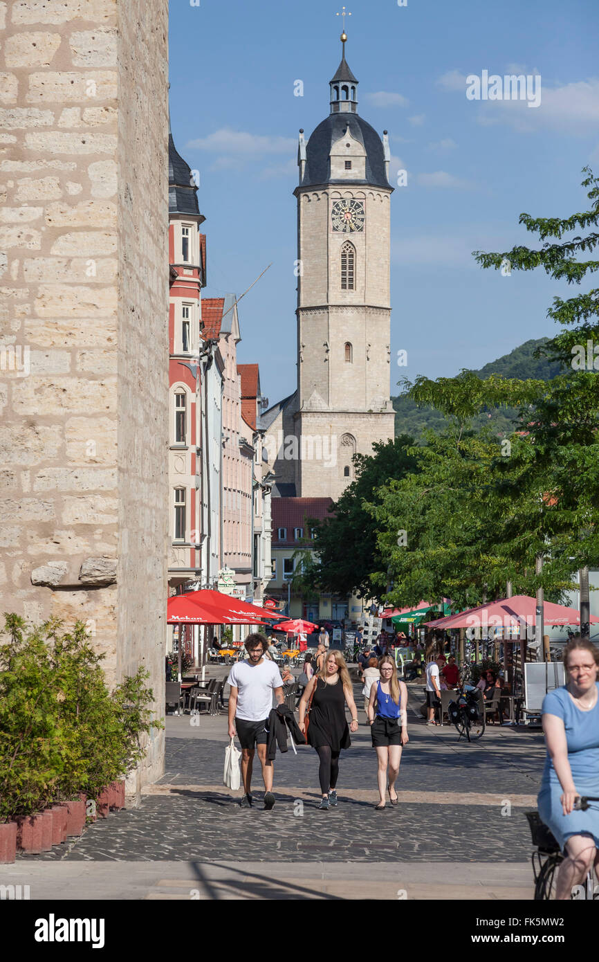 View from Johannisstreet to the main church St. Michael in Jena, germany - Stock Image