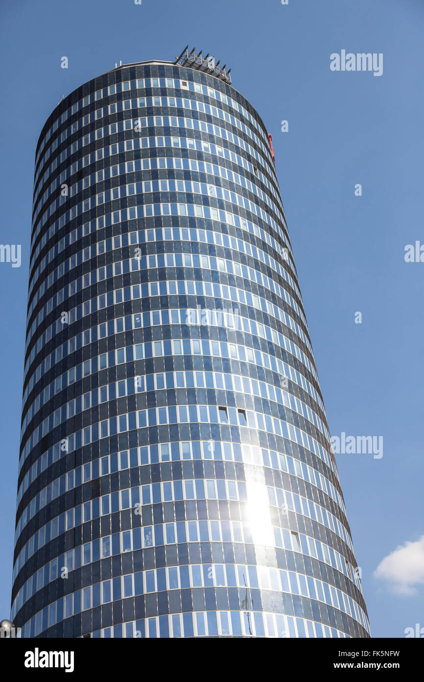 Jentower in the city of Jena, germany, with deep blue sky - Stock Image