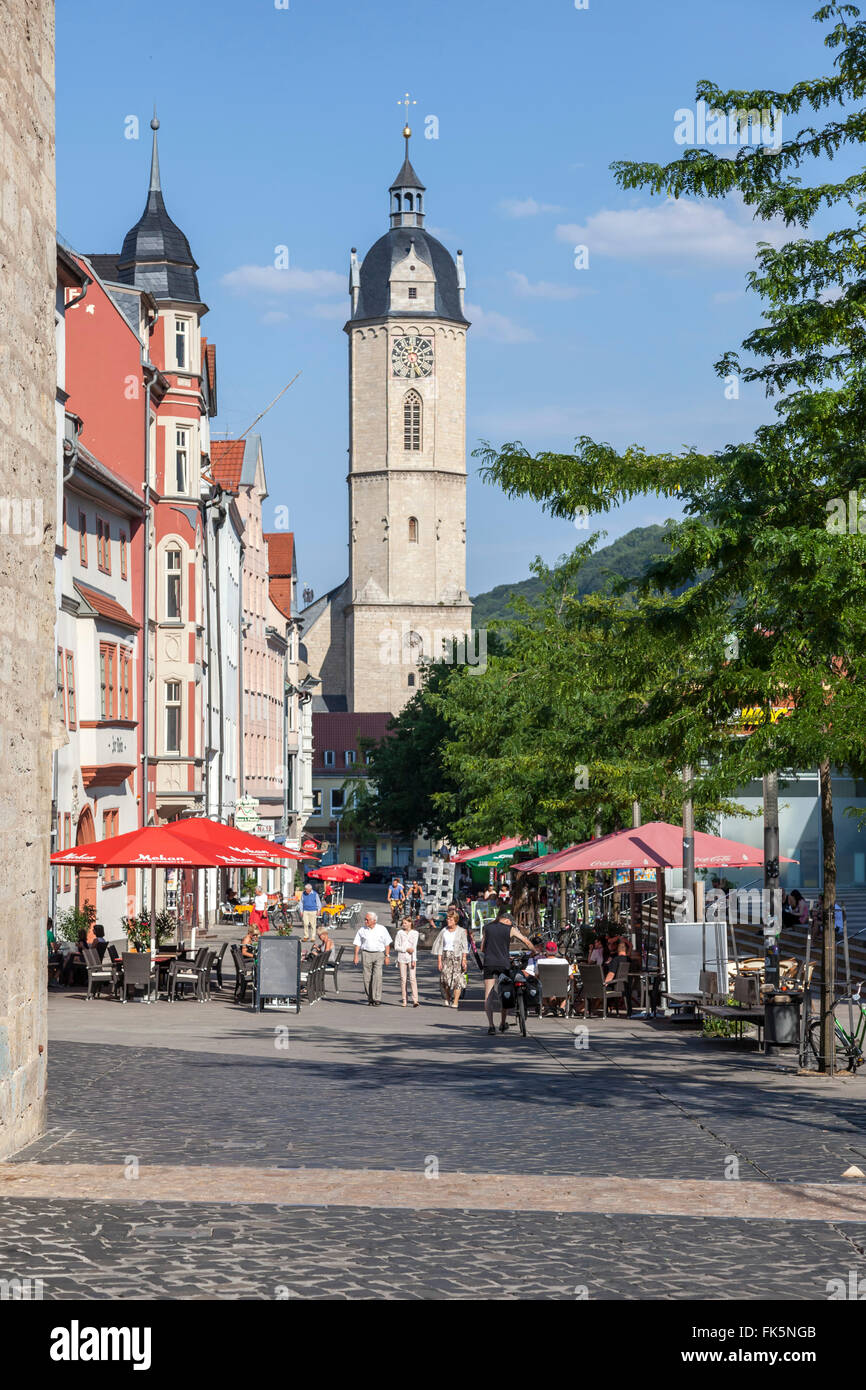 View from the Johannisstreet to the main church St. Michael in Jena, germany - Stock Image