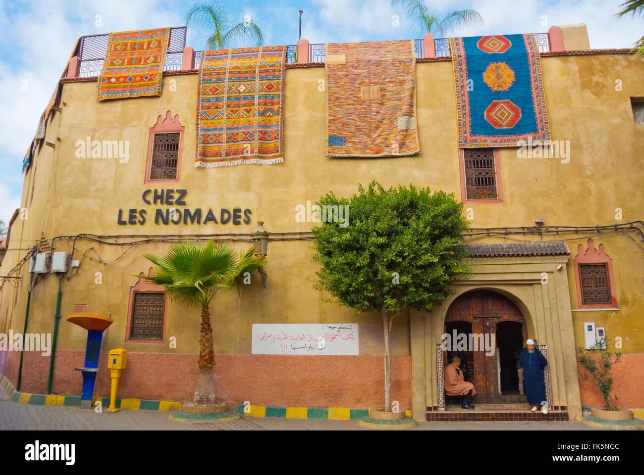 Chez les Nomades, carpet shop, Medina, Marrakesh, Morocco, northern Africa - Stock Image