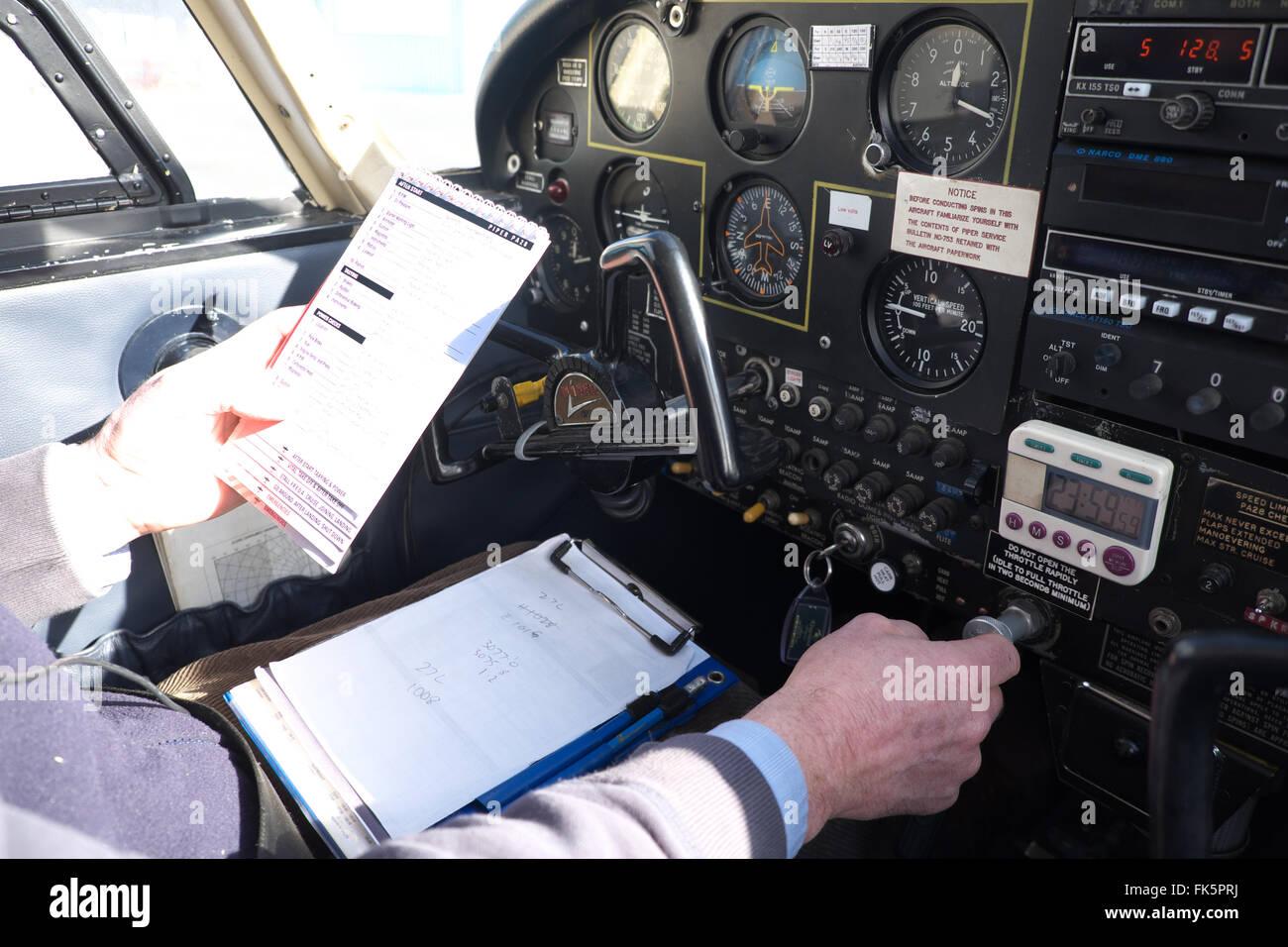 pre flight checks checklist in a piper pa 28 cherokee procedure