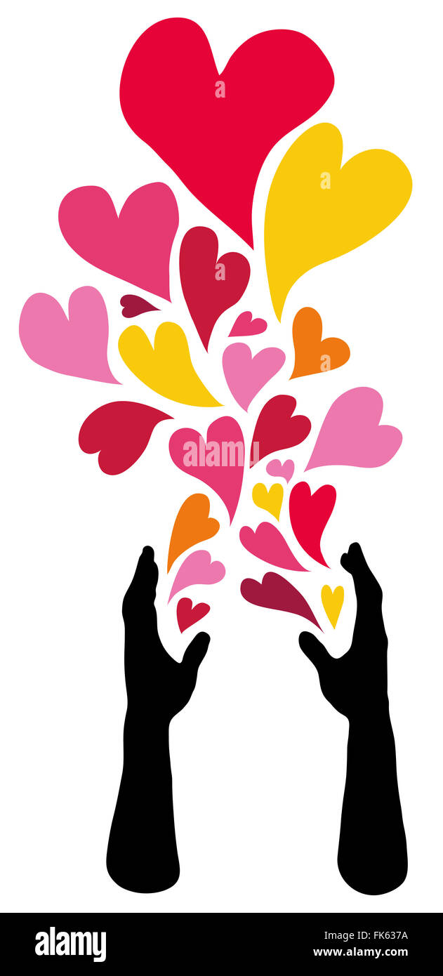 Caring hands spreading hearts of love. - Stock Image