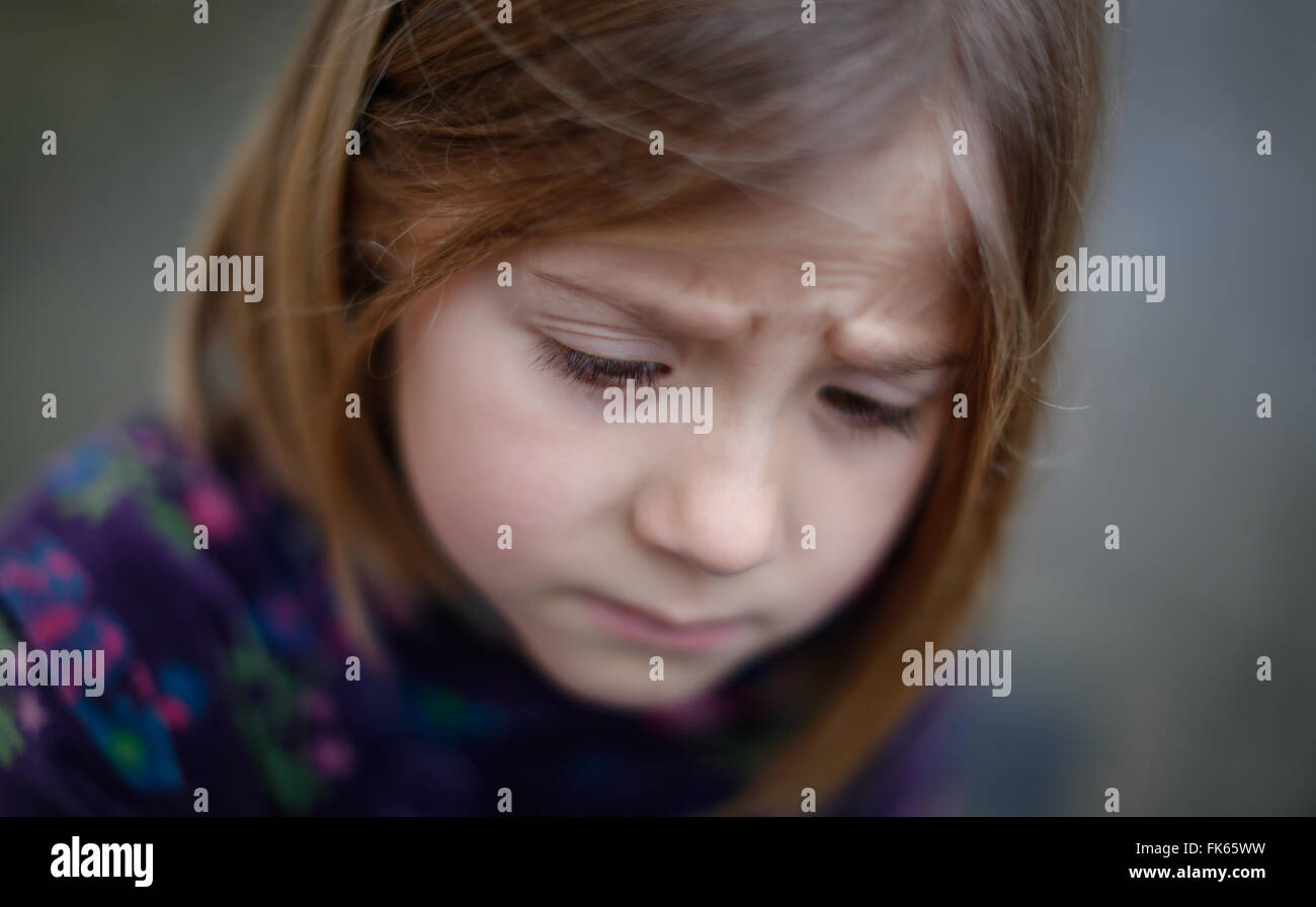 A young girl reacts in London, Britain January 4, 2016. - Stock Image