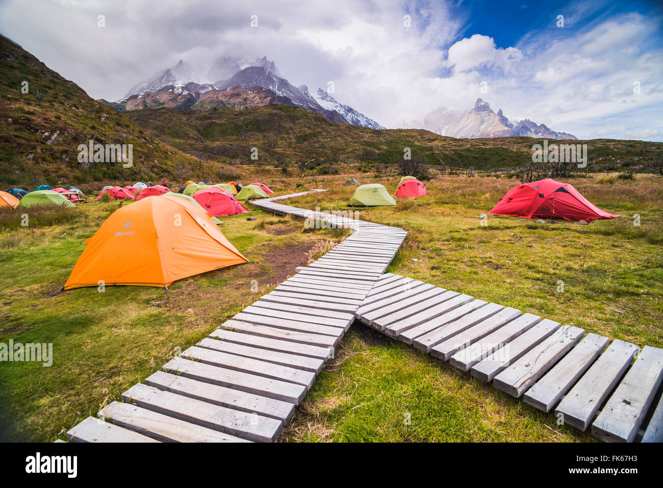 Camping in Torres del Paine National Park, Patagonia, Chile, South America - Stock Image