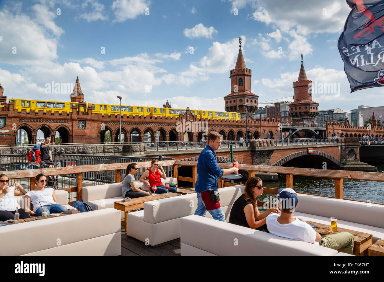 View over Oberbaum bridge (Oberbaumbrucke) Friedrichshain/Kreuzberg, Berlin, Germany, Europe - Stock Image