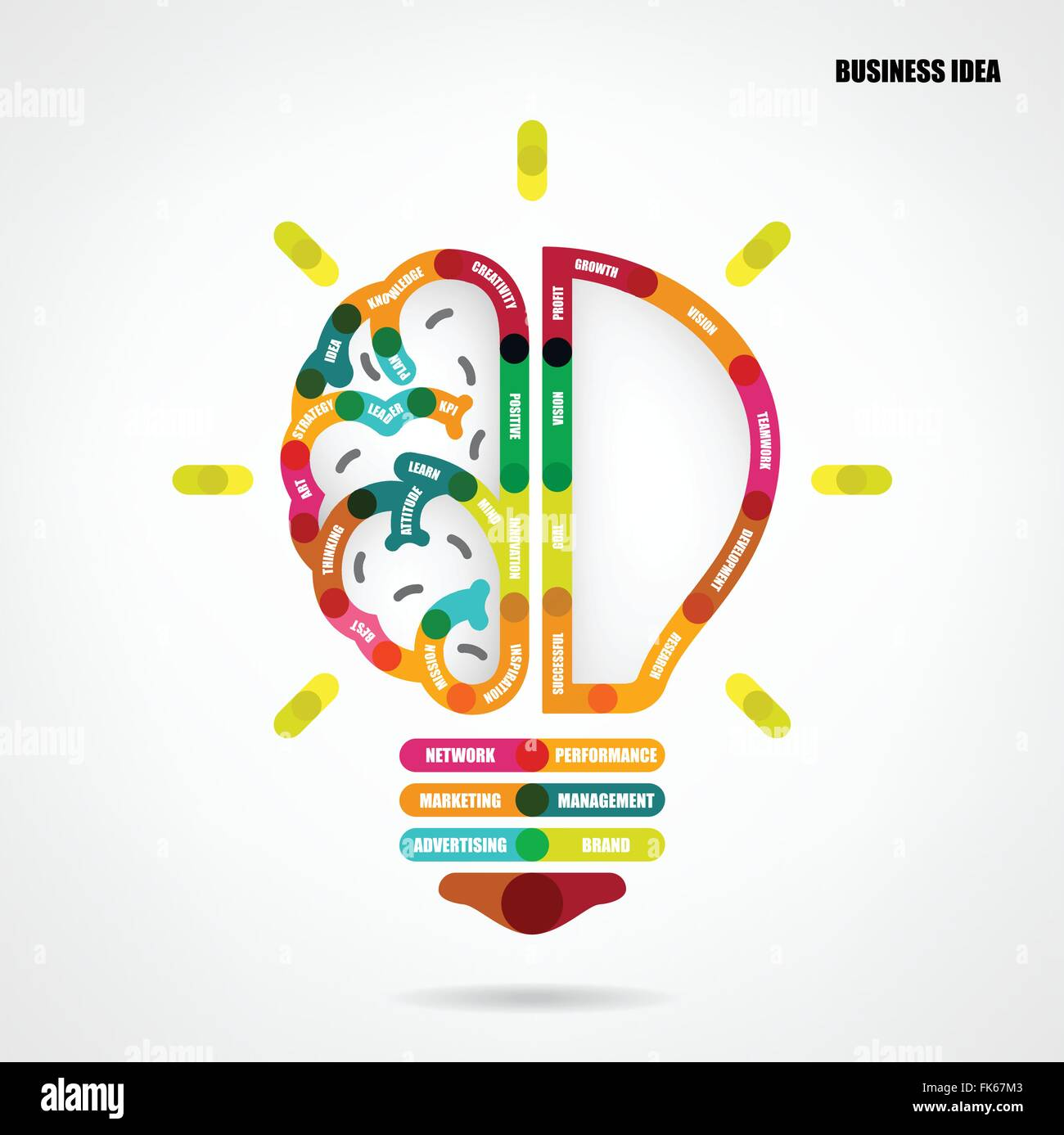 creative light bulb concept with business idea background design