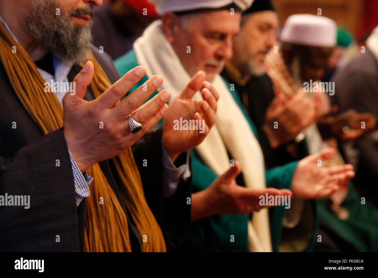 Naqshbandi Sufis praying, Nandy, Seine-et-Marne, France, Europe - Stock Image