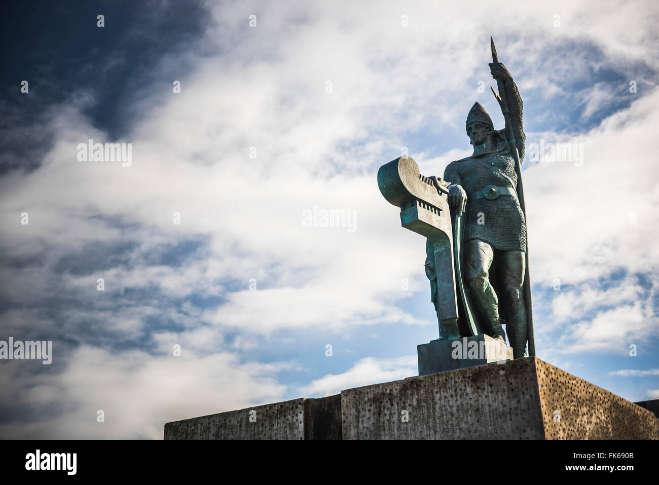 Statue of Ingolfur Arnarson, considered the first settler of Iceland, on Arnarholl Hill in Reykjavik, Iceland, Polar - Stock Image