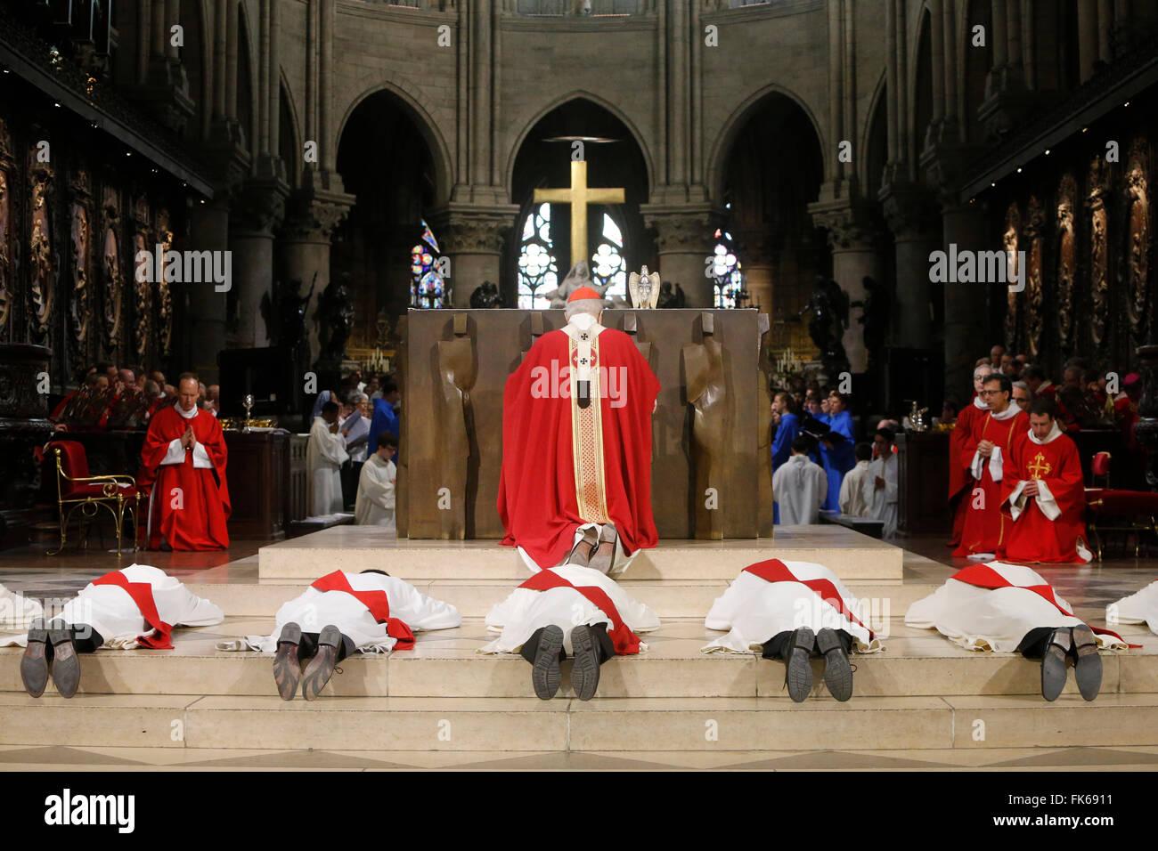 Priest ordinations at Notre-Dame de Paris cathedral, Paris, France, Europe - Stock Image