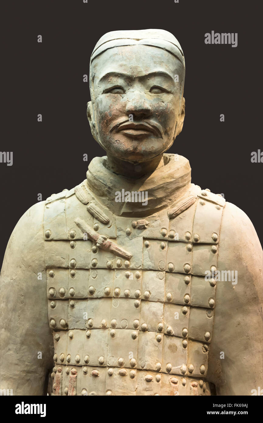 Museum of the Terracotta Warriors, bust of a Cavalryman, Xian, Shaanxi Province, China, Asia - Stock Image