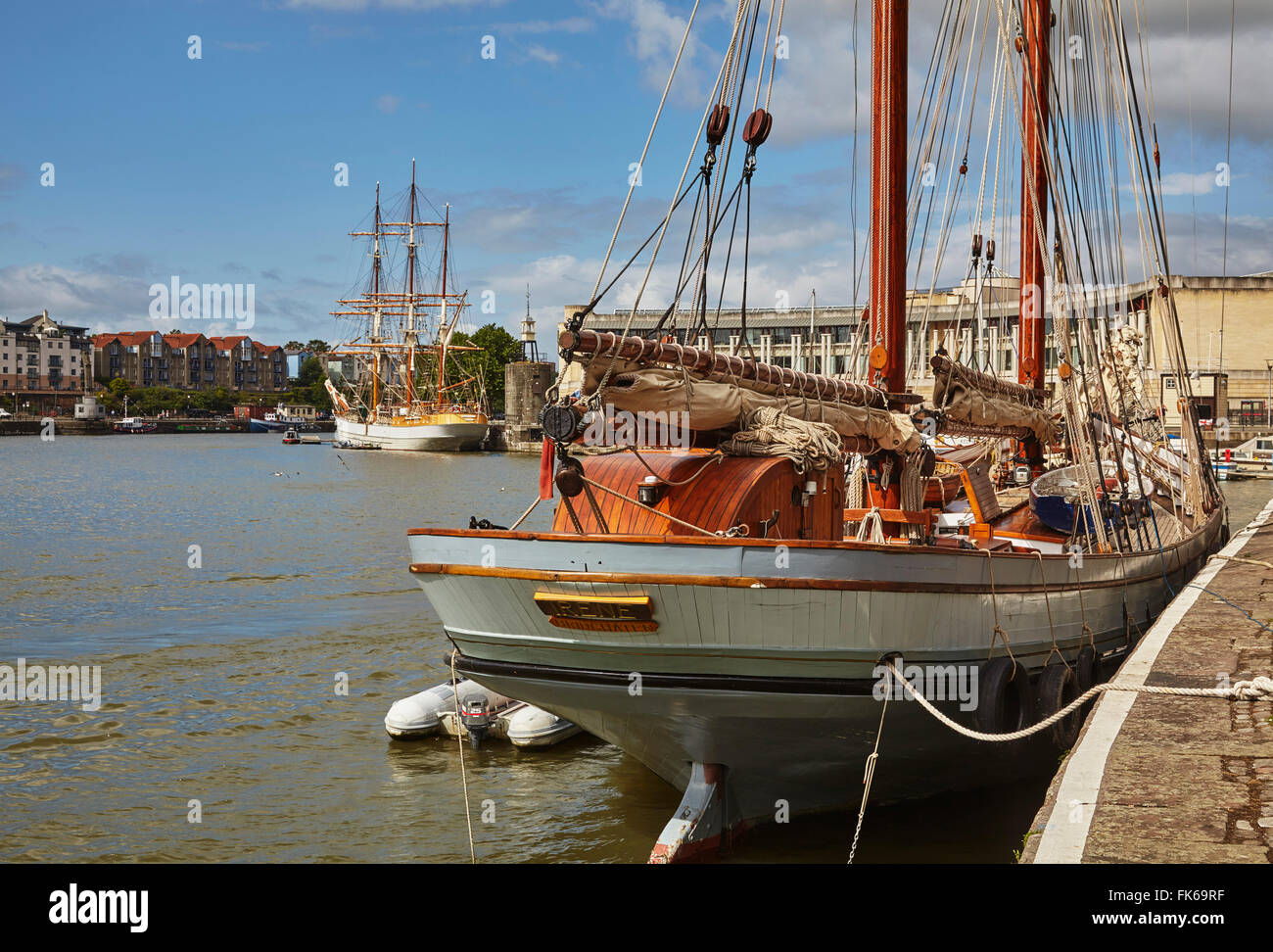Irene, an old sailing trading ketch in The Docks, Bristol, England, United Kingdom, Europe - Stock Image