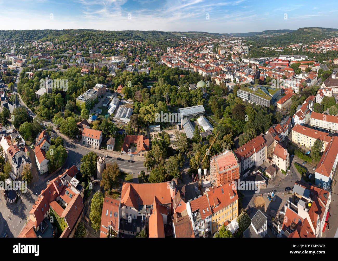 Panoramic View from the Jentower in Jena, Germany, Thuringia Stock Photo