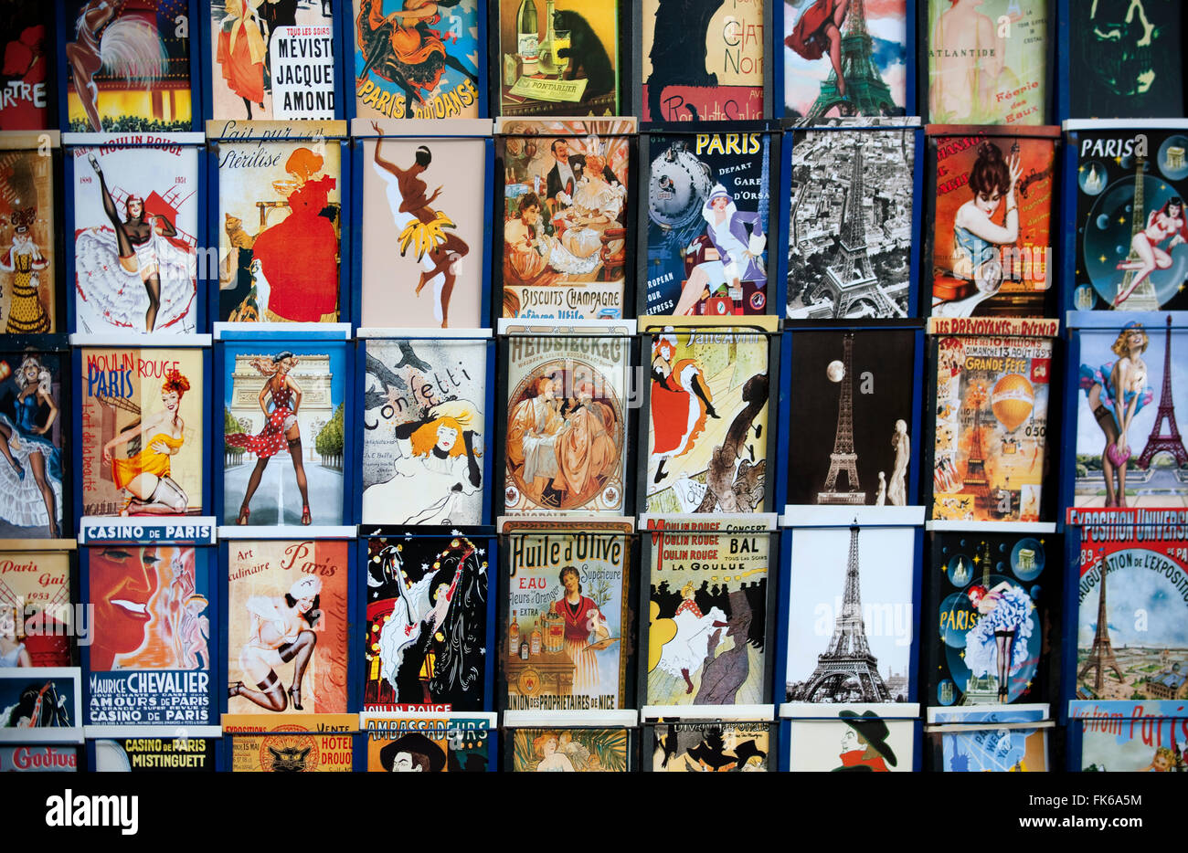 Postcards on the traditional stalls on the Seine, Paris, France, Europe - Stock Image