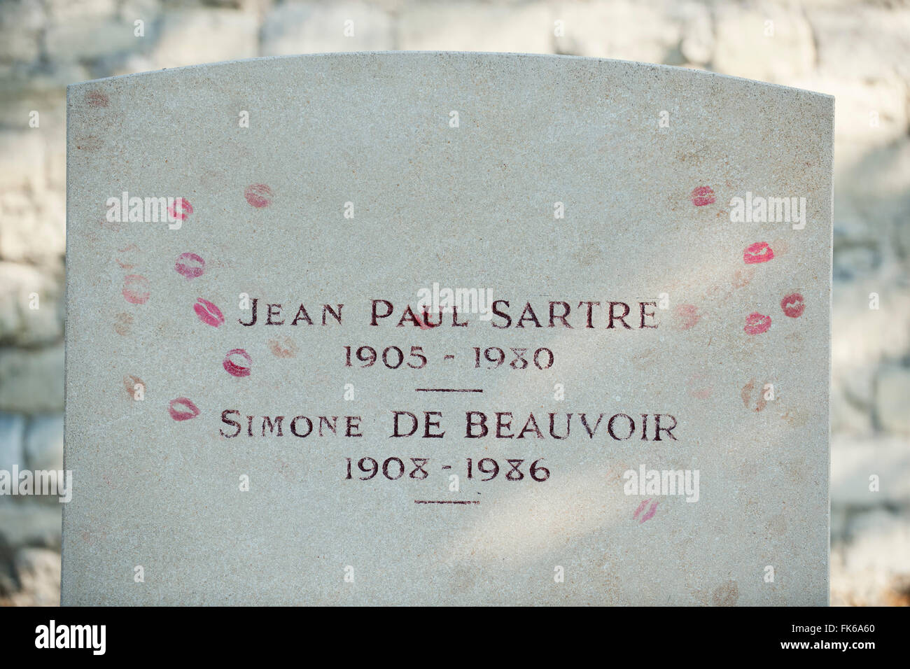 Gravestone of existentialist writers Jean Paul Sartre and Simone de Beauvoir at Pere Lachaise Cemetery, Paris, France, - Stock Image