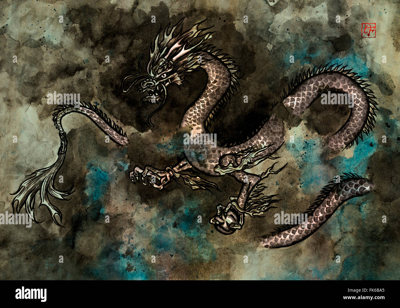 Traditional ink painting of a fierce Chinese dragon - Stock Image