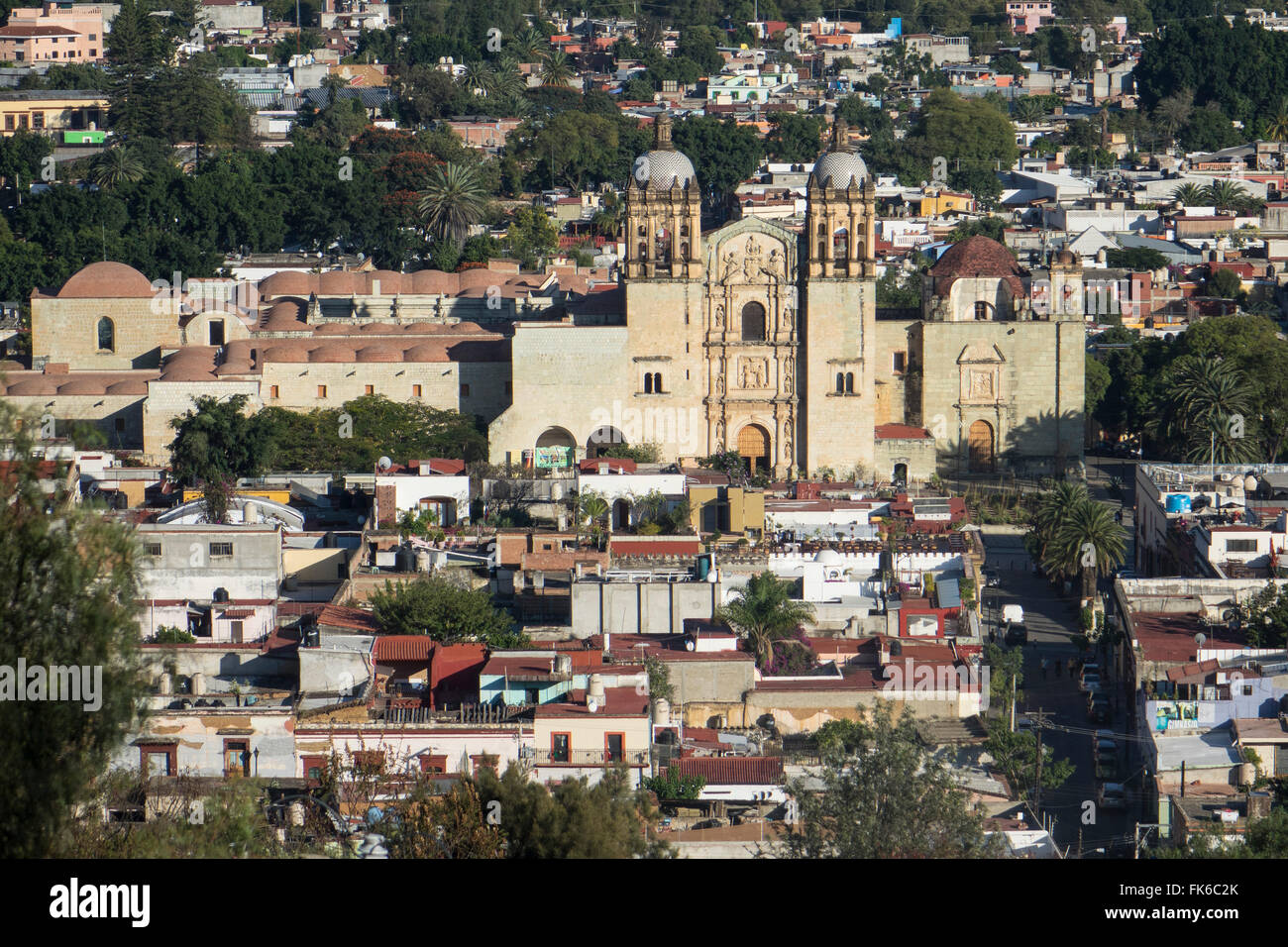 Aerial view of city and Santo Domingo church, Oaxaca, Mexico, North America - Stock Image