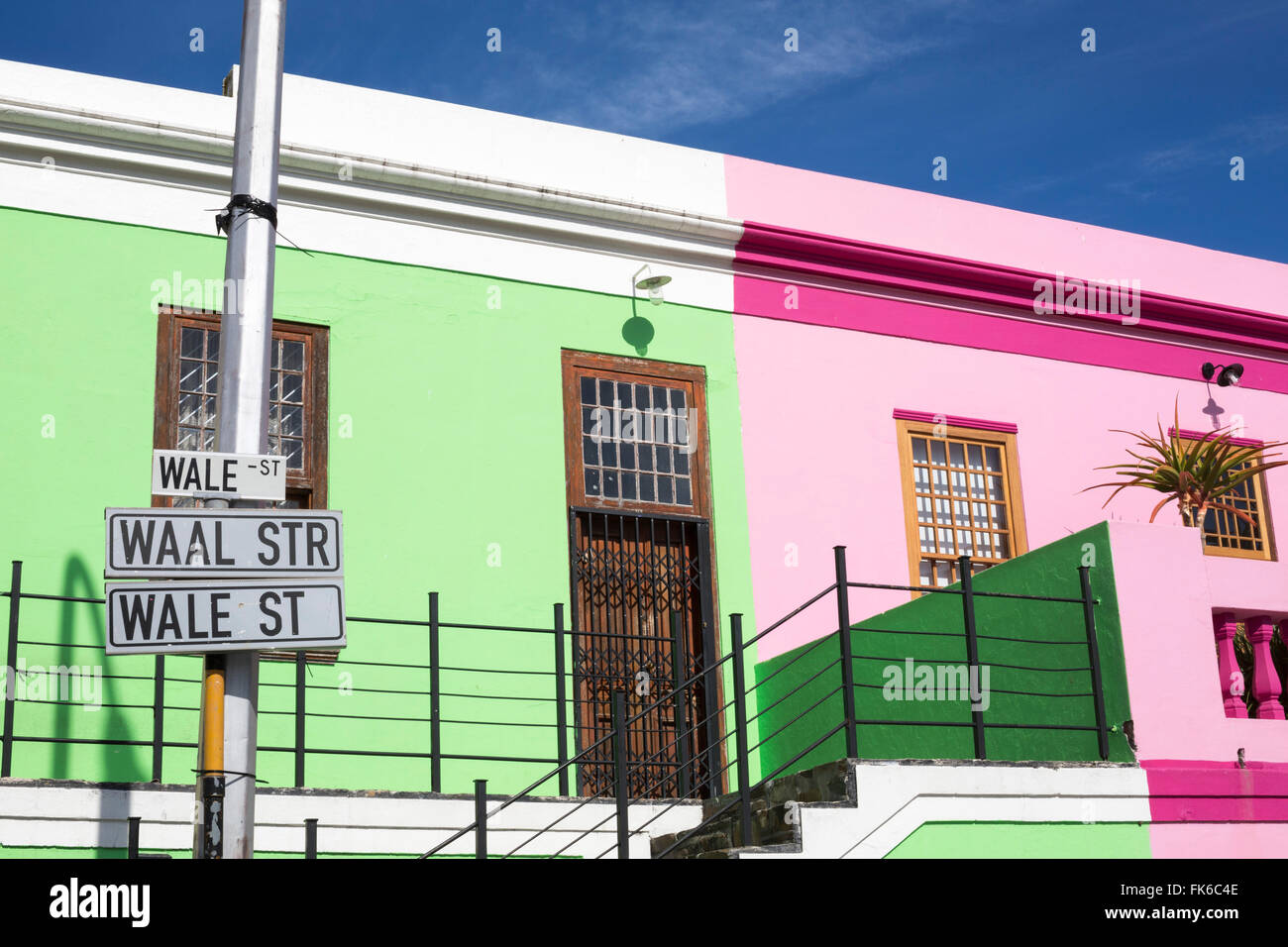 Colourful cottages, Bo Kaap Cape Malay district, Cape Town, South Africa, Africa - Stock Image