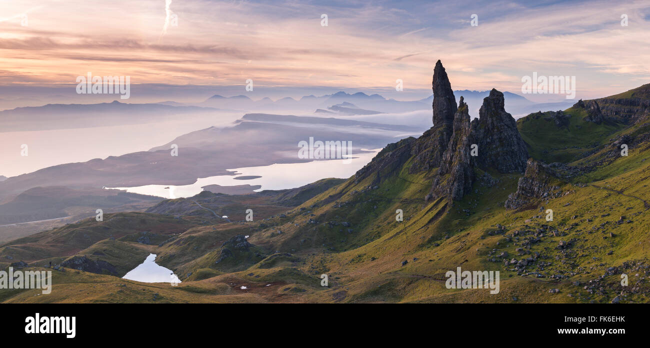Spectacular scenery at the Old Man of Storr on the Isle of Skye, Inner Hebrides, Scotland, United Kingdom, Europe Stock Photo