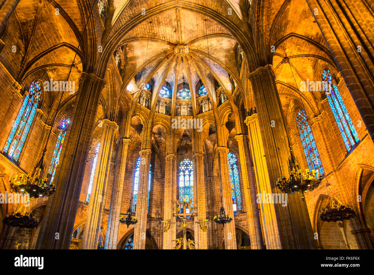 View from below on illuminated cathedral indoors. - Stock Image