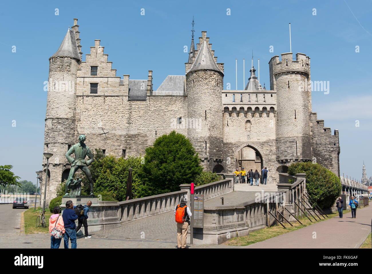 Het Steen, a medieval fortress in Antwerp, Belgium, Europe - Stock Image