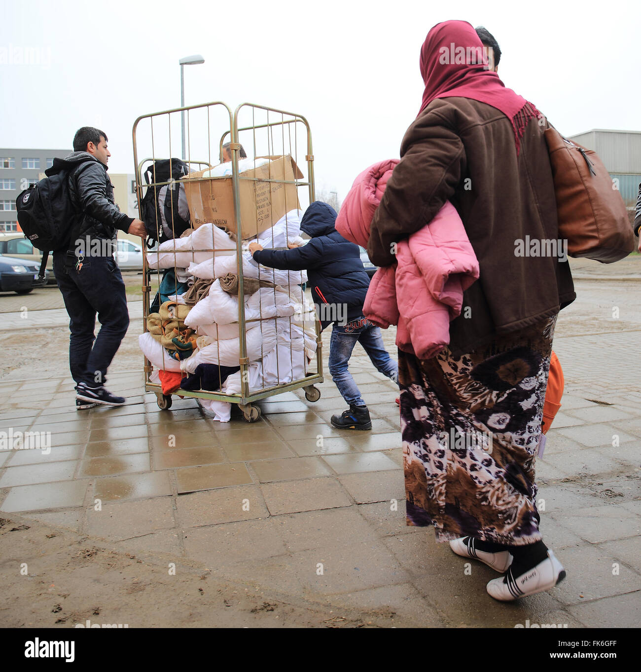 Halberstadt, Germany. 7th Mar, 2016. Refugees arriving at the new arrival centre for asylum seekers at the Central Stock Photo