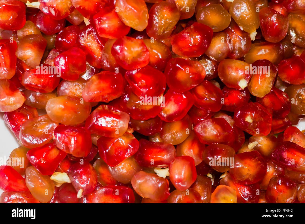 red pomegranate fruit food freshness sweet organic - Stock Image