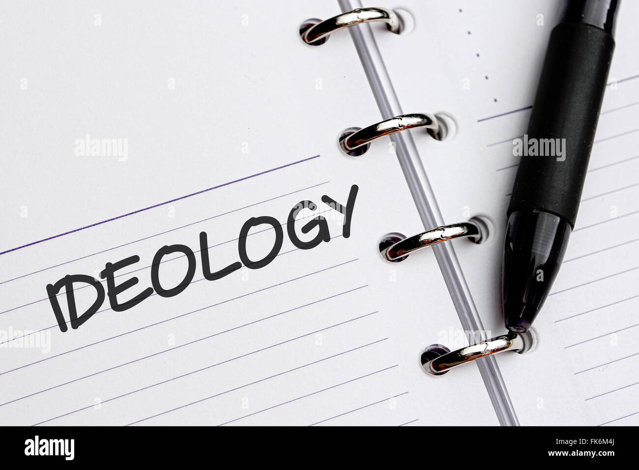 Ideology word written on paper. - Stock Image